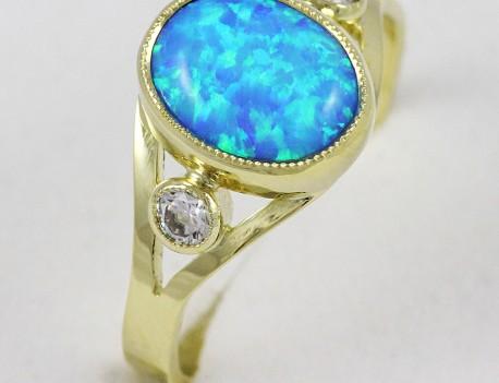 Prsten s opálem syntetickým