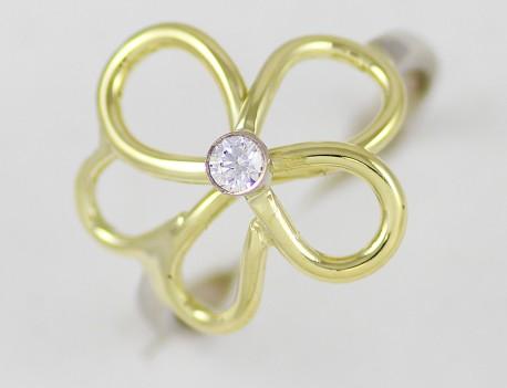 Prsten květina s kamenem